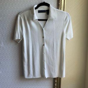 White knit button up collard top